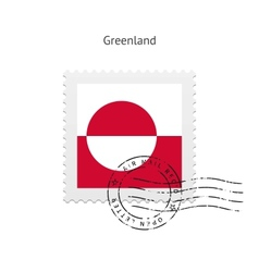 Greenland Flag Postage Stamp vector image