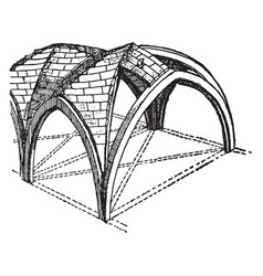Groined vault with zigzag ridge-joints as a vector