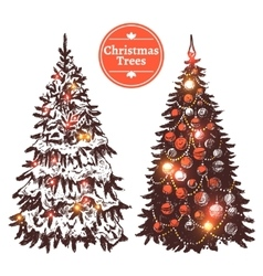 Hand Drawn Christmas Tree Set vector image vector image