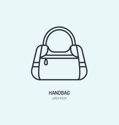 Handbag repair line icon logo leather bag vector