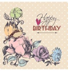 Happy birthday card floral corner ornament vector