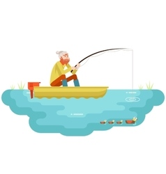 Lake fishing Adult Fisherman with Fishing Rod Boat vector image vector image