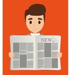 Man reading newspaper design vector