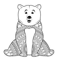 Mandala bear icon vector