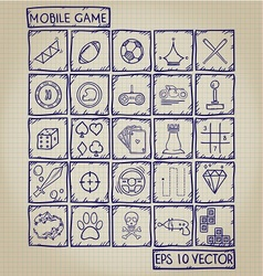 Mobile Game Icon Doodle Set vector image