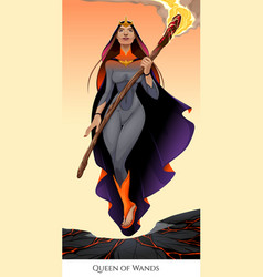 Queen of wands tarot card vector