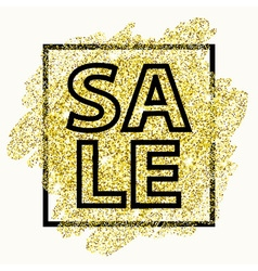 Sale type on golden glitter background with light vector