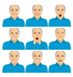 Senior man making different face expressions vector