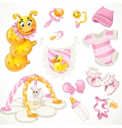 Set of pink baby toys objects clothes and things vector image