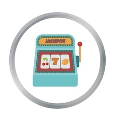 Slot machine icon in cartoon style isolated on vector