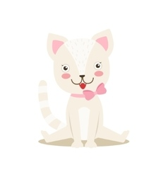 White little girly cute kitten with bow necklace vector