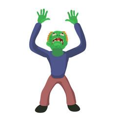 Zombie looks up icon cartoon style vector