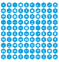 100 health icons set blue vector