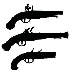 Historical matchlock pistols vector