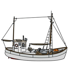 White fishing cutter vector
