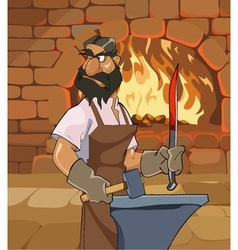Cartoon male blacksmith forges a sword vector