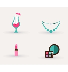 Girls accessories makeup and jewelry vector