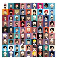 Set of people icons in flat style with faces 06 b vector