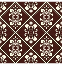 Brown damask pattern vector
