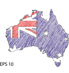 Australia flag sketched vector