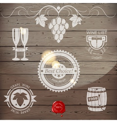 white wine emblems vector image
