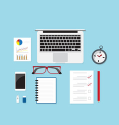 work desk with office supplies vector image