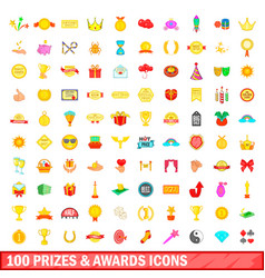 100 prizes and awards icons set cartoon style vector