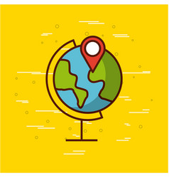 Planet earth with gps pin image vector