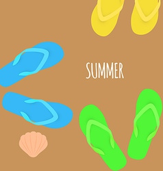 Summer time slippers banner vector