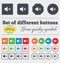 Mute speaker sound icon sign big set of colorful vector