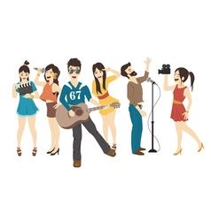 Set of singer and musicians  eps10 format vector