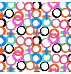 Pattern with painted circles and crosses vector