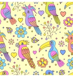 Toucans and parrots vector