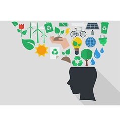 Human head with ecology icons vector
