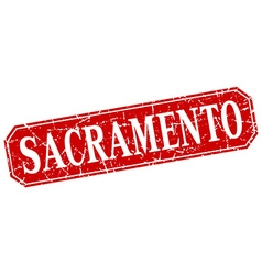Sacramento red square grunge retro style sign vector