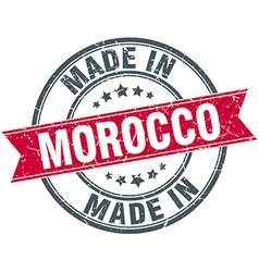 Made in morocco red round vintage stamp vector