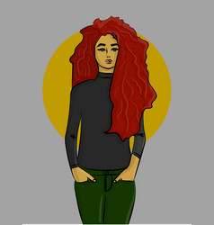 a girl with red hair in green jeans and a gray vector image