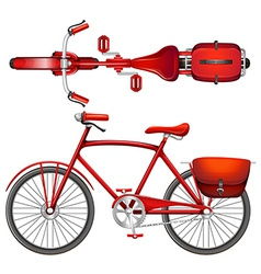 A red bicycle vector image