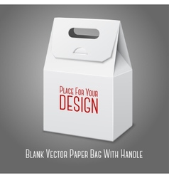 Blank white paper packaging bag with handle vector image vector image