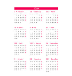 Calendar for 2019 year on white background design vector