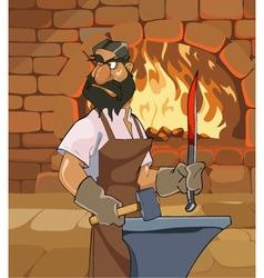 Cartoon male blacksmith forges a sword vector