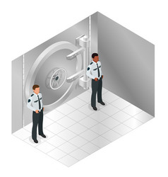 closed steel bank vault door closed door to the vector image vector image