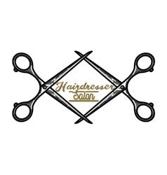 Color vintage hairdresser salon emblem vector image