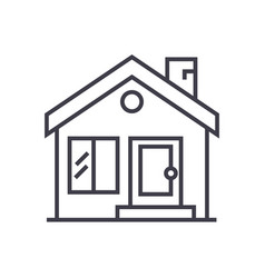 cottage chimneyreal estate line icon vector image vector image