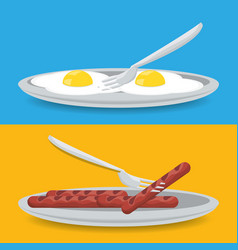 delicious breakfast dish with fried eggs and vector image