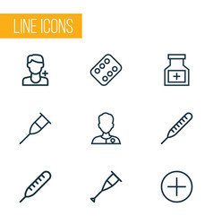 Drug outline icons set collection of antibiotic vector