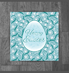 easter greeting card with white tulips on wooden vector image vector image