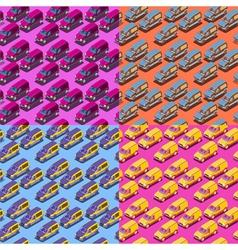 Four seamless isometric car patterns vector