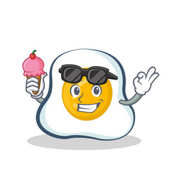 Fried egg character cartoon with ice cream vector