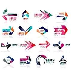 Geometric shapes arrow company logo set paper vector